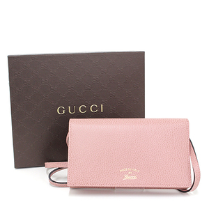 Gucci GUCCI swing shoulder wallet light pink leather 368231 clutch mini bag as good new