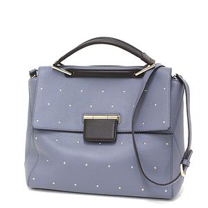 Furla FURLA 2 WAY Tote Bag Leather Blue Gray / Gold Hardware 851380 Shoulder