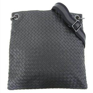 Genuine BOTTEGA VENETA Bottega Veneta Intore shoulder bag Leather black leather