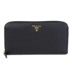 Authentic PRADA Prada Leather U Land Fastener Purse Black 1ML 506