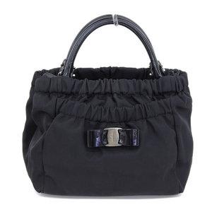 Authentic Salvatore Ferragamo Nylon Vala 2 Way Bag Hand Shoulder Black Leather