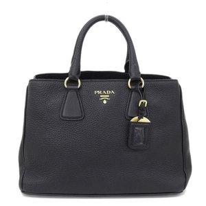 Authentic PRADA Prada 2 Way Handbag Shoulder Black BN 2579 Bag Leather