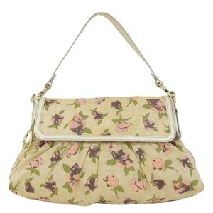 Genuine FENDI Fendi Shoulder Bag Floral Pattern White Green Pink Leather