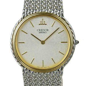 Real SEIKO Credor Mens Quartz Wrist Watch 18K Bezel 5A74-0230