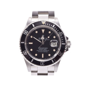 ROLEX Submariner black letter board 16800 Men's SS Tritium Automatic winding wristwatch AB rank Used silver storage