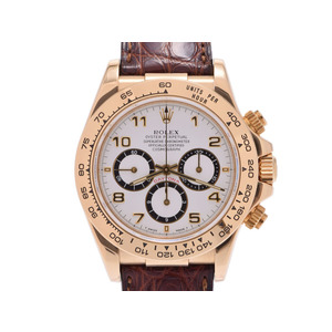ROLEX daytona white dial board 16518 N-th men's YG / leather automatic winding wristwatch A rank beautiful goods inner box used silver storage