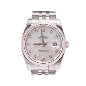 Rolex Datejust Silver Dial 10P 116234G Z No. Men's WG / SS Automatic Watch A Rank Beautiful Item ROLEX Used Ginza