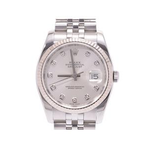 ロレックス デイトジャスト シルバー文字盤  10Pダイヤ 116234G Z番 メンズ WG/SS 自動巻 腕時計 Aランク 美品 ROLEX 中古 銀蔵