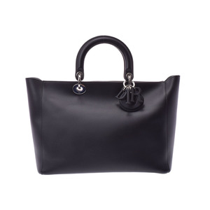 Dior 2WAY handbag black ladies calf A rank beautiful goods CHRISTIAN DIOR used pouch attaching
