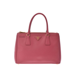 Prada 2WAY handbag pink saffiano AB rank with strap PRADA second hand silver storage