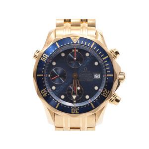 Omega Seamaster Chrono Black Case 2198.80 Men's YG Automatic Watch A rank 美 品 OMEGA Used Ginza