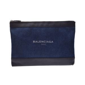 バレンシアガ(Balenciaga) バレンシアガ ネイビークリップ 青/黒 メンズ レディース デニム/カーフ クラッチバッグ Aランク BALENCIAGA 中古 銀蔵