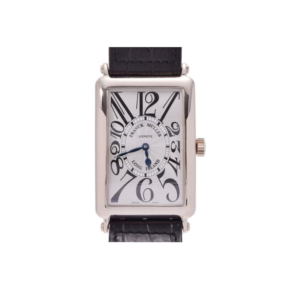 フランクミュラー ロングアイランド シルバーギョーシェ文字盤 1000SC メンズ WG/革 自動巻 腕時計 FRANCK MULLER 箱 ギャラ 中古 銀蔵