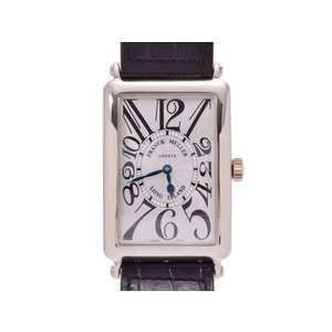 Frank Muller Long Island Silver Guillocher Dial 1000SC Mens WG / Automatic Leather Watch FRANCK MULLER Box Gala Used Ginza