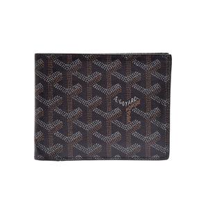 Goyard herringbone two fold wallet black men's lady PVC AB rank GOYARD box second hand silver store