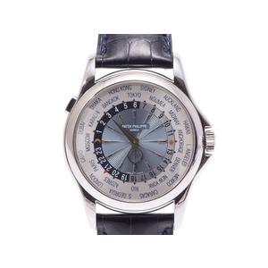 Patek flip world time silver dial 5130 P-001 Men's PT / leather automatic winding wrist watch back skate A rank 美 品 PATEK PHILIPPE box gift second hand storage
