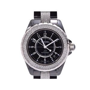 Chanel J12 black character board H1339 Men's ceramic bezel / breath center diamond automatic winding wristwatch A rank beautiful goods CHANEL used silver storage
