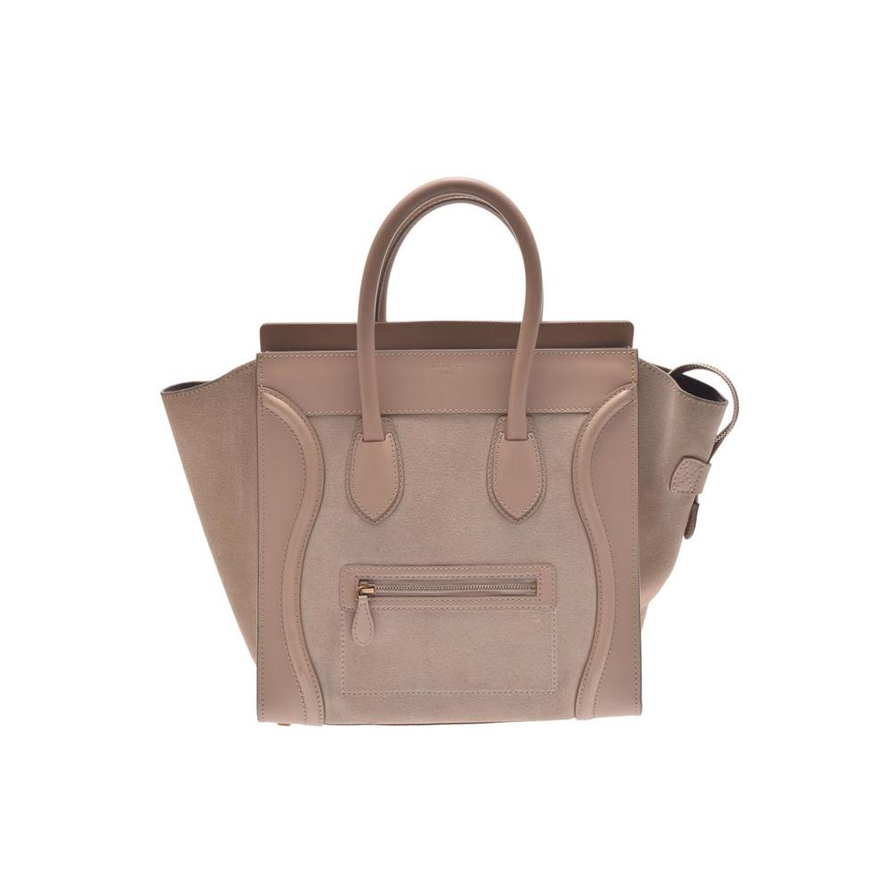 669e9c072ac4 Celine luggage mini shopper beige ladies calf   suede handbag AB rank CELINE  second hand silver storage
