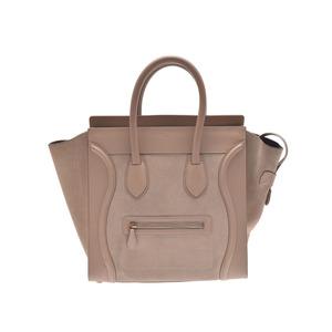 Celine luggage mini shopper beige ladies calf / suede handbag AB rank CELINE second hand silver storage