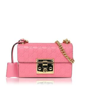 Gucci GUCCI Signature Small Shoulder Bag 409487 Leather Candy Pink