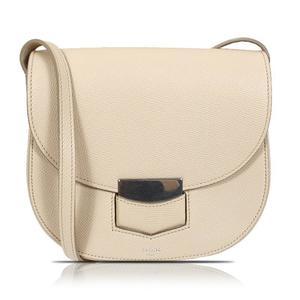 Celine CELINE Small Trotter 17902 Beige Silver Hardware Calfskin Shoulder Bag