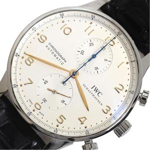 IWC Portuguese Chronograph IW 371401 Automatic Mens Watch Leather Belt Wrist Finished