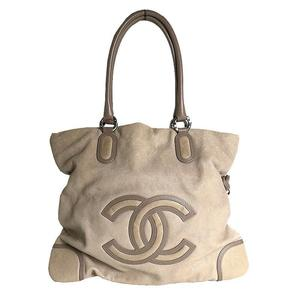 Chanel CHANEL Coco Mark Large Tote Bag Calfskin Beige × Brown Women's