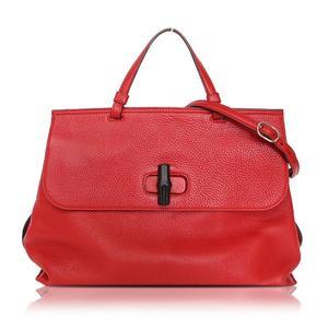 Gucci GUCCI Bamboo Daily Handbag 370830 Red Tote Bag Women's
