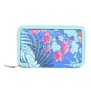 HERMES Soakool Flamingo Party Vaud Epson Silk Blue Athol Purse Women's