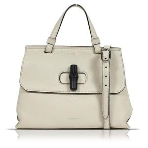 Gucci GUCCI Bamboo Daily 370831 Leather Ivory Shoulder Bag