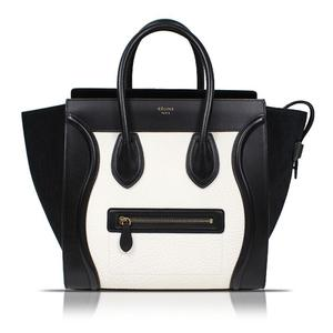 Celine CELINE Luggage Mini Shopper 165213 Black × White Leather Handbag