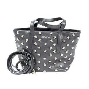 Jimmy Choo JIMMY CHOO MINISARA 2WAY mini tote bag with star studs black