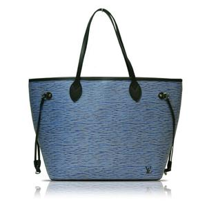 Louis Vuitton Epi Denim Neverful MM M 51053 Blue Tote Bag Women's