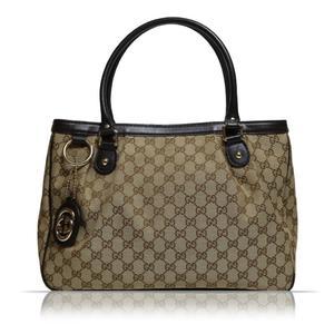7b26bfb55e4b Gucci GUCCI GG canvas sukey tote bag 296835 beige × dark brown ladies