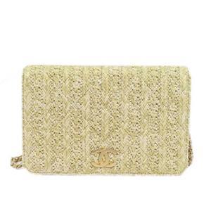 Chanel CHANEL chain shoulder wallet beige straw / leather