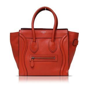 Celine CELINE luggage micro shopper 167793 Calf red handbag