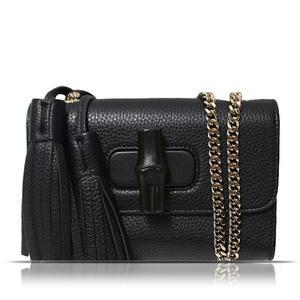 Gucci GUCCI Bamboo chain shoulder bag 387612 black ladies