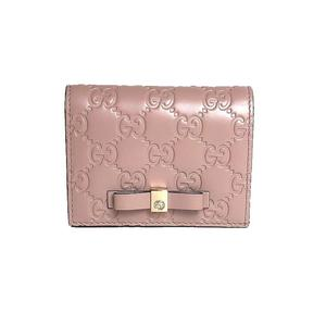 Gucci GUCCI GG Card Case 406924 Light Pink Double Fold Wallet Sima Leather Ladies