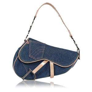 Christian Dior Dior Christian Saddle Bag Denim Leather Blue Shoulder