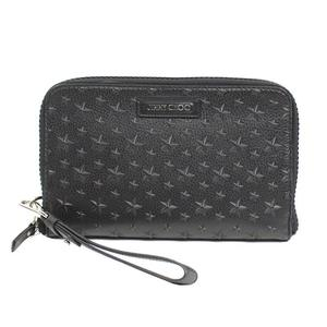 Jimmy Choo JIMMY CHOO CARTER Star Embossed Clutch Bag Black long wallet Women's