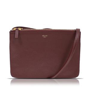 Celine CELINE Trio Small W-LM-2177 Leather Bordeaux Shoulder Bag