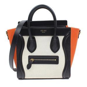 Celine CELINE Luggage Nano Shopper 168242 Black × Orange Beige Women's