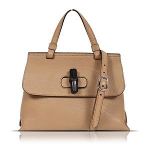 Gucci GUCCI Bamboo Daily 370831 Brown Leather Handbag