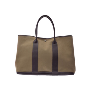 Hermes Garden Party TGM Khaki / Maron □ F Engraved Mens Ladies Canvas BUFFER Bag AB Rank HERMES Used Ginza