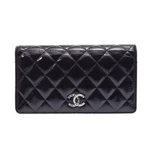 Chanel Matrasse Nets Fold Purse Black SV Hardware Women's Vinyl B Rank CHANEL Box Gala Used Ginza