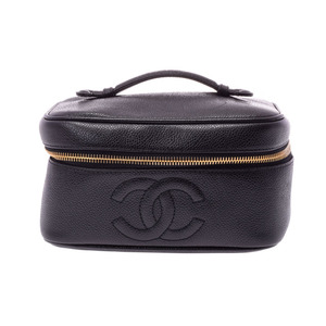 Chanel Horizontal Vanity Black G Hardware Women's Caviar Skin Bag AB Rank CHANEL Galler Used Ginza