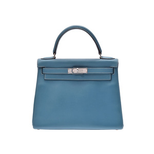Hermes Kelly 28 Blue Gene SV metal fittings □ B engraved ladies Kushuburu inner sewing handbag AB rank HERMES second hand silver stock