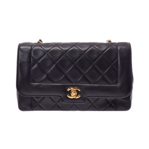 Chanel Matrasse chain shoulder bag black G fittings ladies lambskin B rank CHANEL galler secondhand silver stock