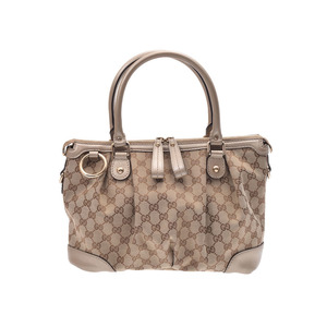 Gucci 2 wayai handbag GG pattern beige series ladies canvas / leather B rank GUCCI strap attaching second hand silver storage