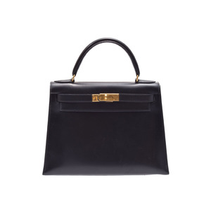 Hermes Kelly 28 Black G Hardware □ B Engraved Ladies BOX Calf Handbag AB Rank HERMES Used Ginza